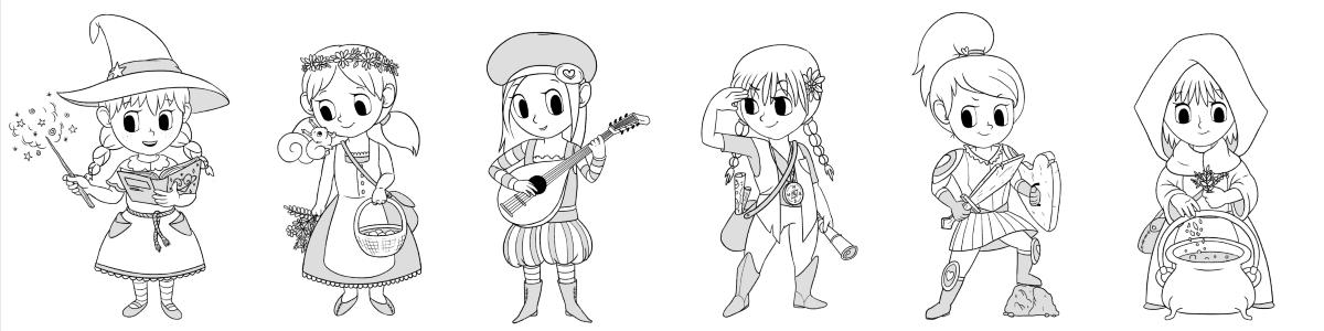 Rysunki dziewczęcych bohaterek w Mistrzu Baśni - czarodziejka, opiekunka lasu, pieśniarka, podróżniczka, rycerka i uzdrowicielka.