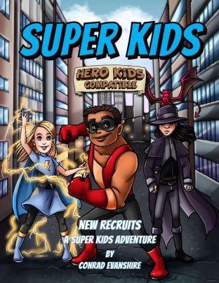 Okładka do podręcznika RPG Hero Kids w konwencji Superhero