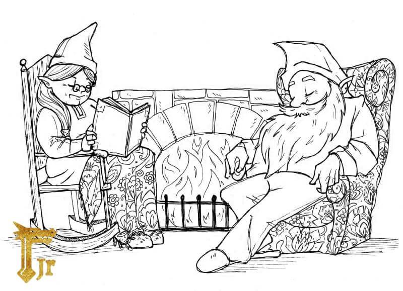 Para krasnoludków odpoczywających przy kominku. Postacie z gry RPG dla dzieci Jagodowy Las